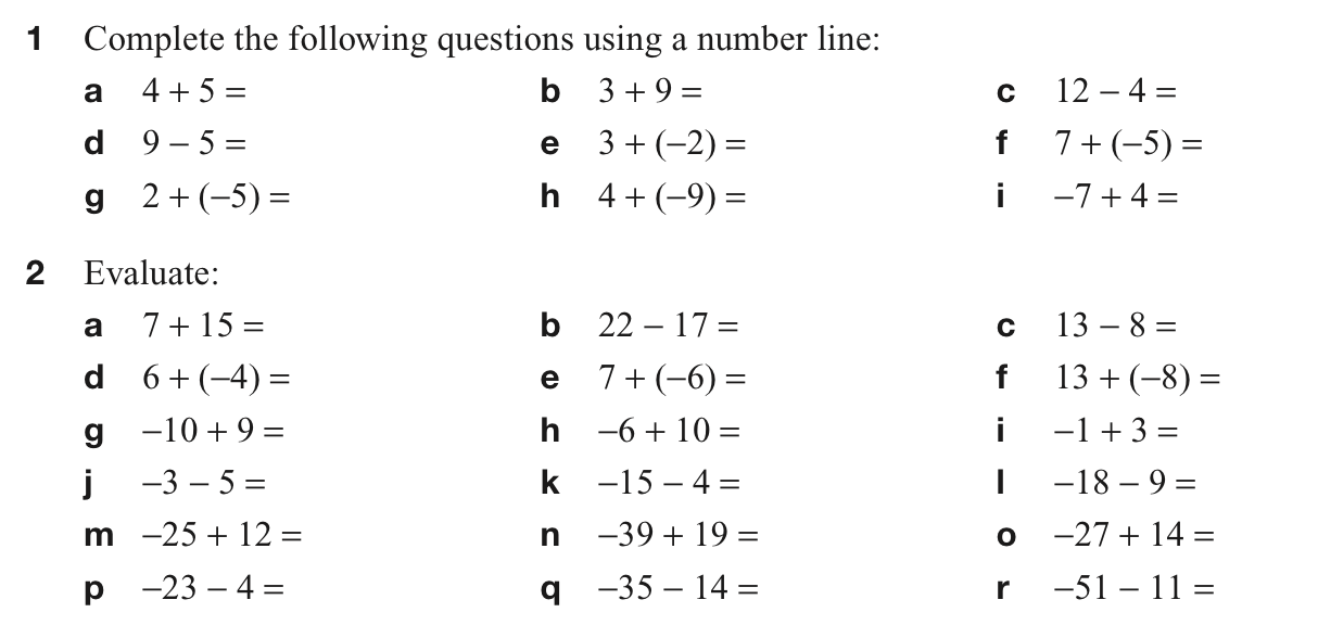 integers  senior block  addition and subtraction with negative numbers problems level one
